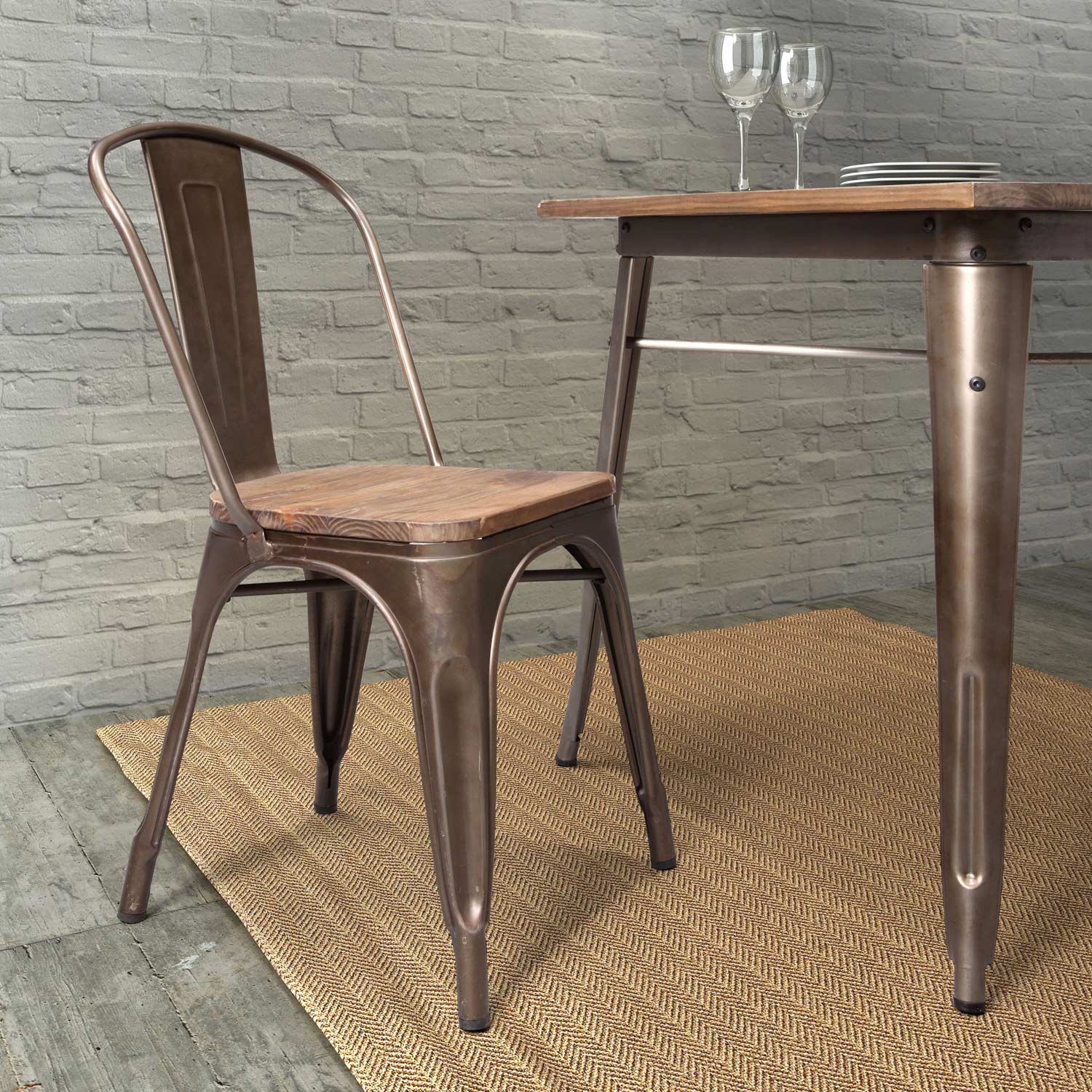 Elio Dining Chair - Steel, Faux Rust, Wood Seat - ZM-108144