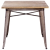 Titus Square Dining Table - Steel, Wood Top, Faux Rust - ZM-109124