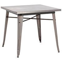 Olympia Square Dining Table - Steel, Gunmetal