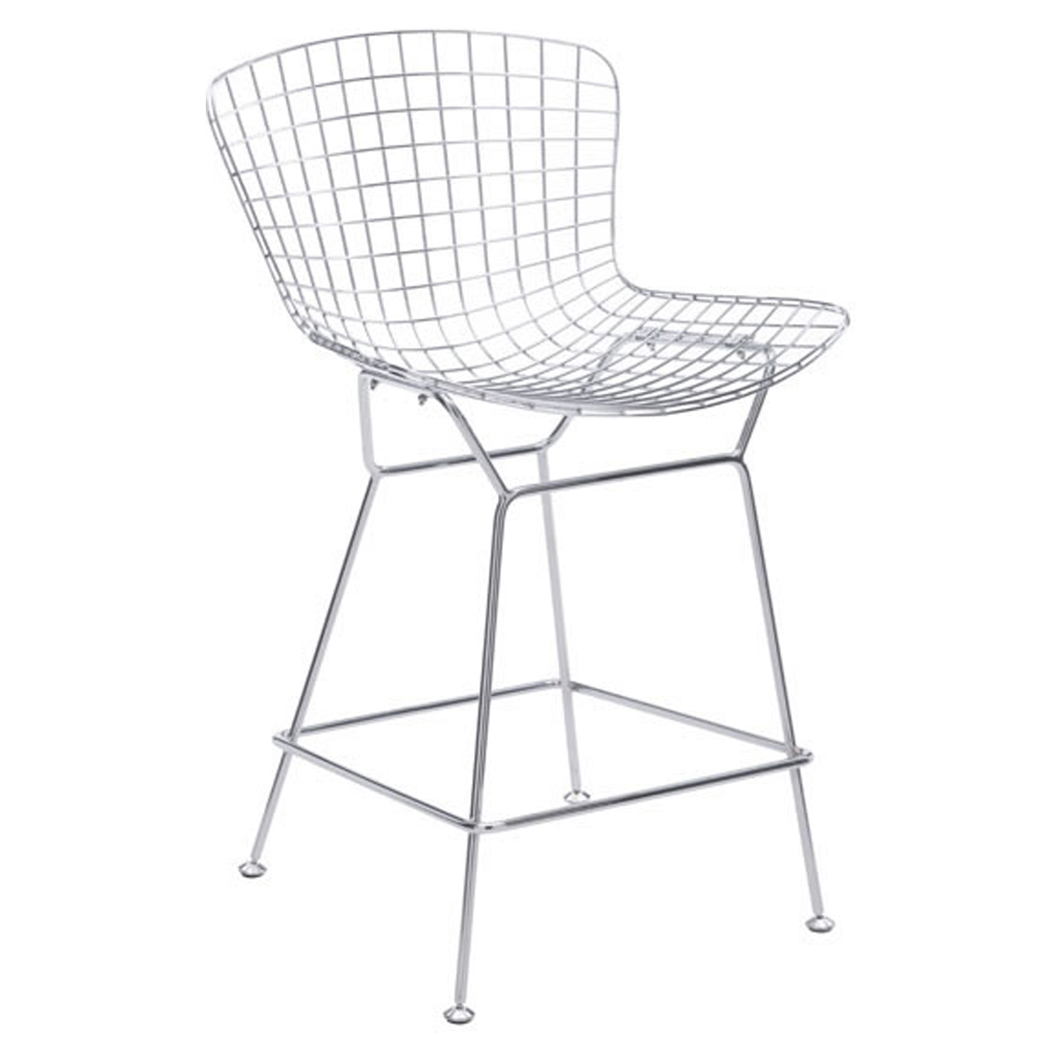 Wire Counter Chair - Backless, Chrome - ZM-188018