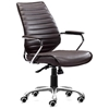 Enterprise Low Back Ribbed Office Chair - Chrome Steel, Espresso - ZM-205166
