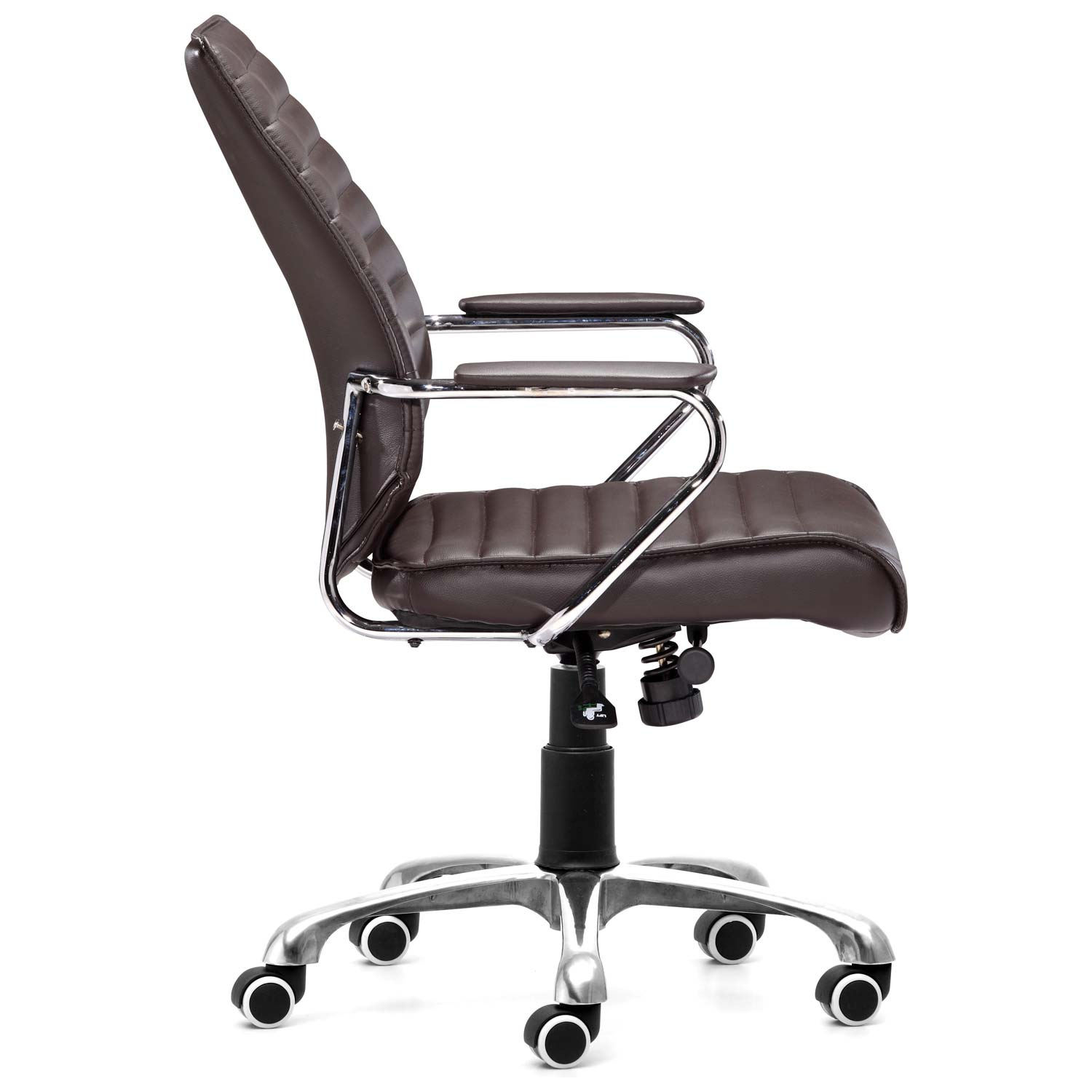 Enterprise Low Back Ribbed Office Chair Chrome Steel Espresso ZM