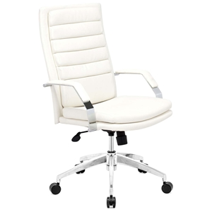 Director Comfort Office Chair - Chrome Steel, White