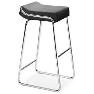 "Piano 32"" Backless Bar Stool - Chrome, Leatherette"
