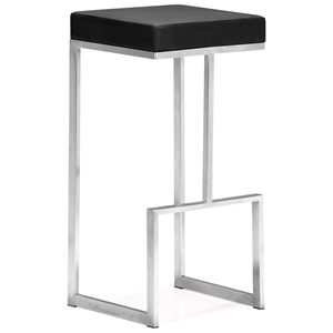 "Darwen 30"" Backless Bar Stool - Stainless Steel, Black"