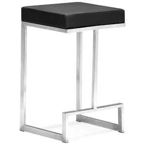 "Darwen 24"" Backless Counter Stool - Steel Base, Black"