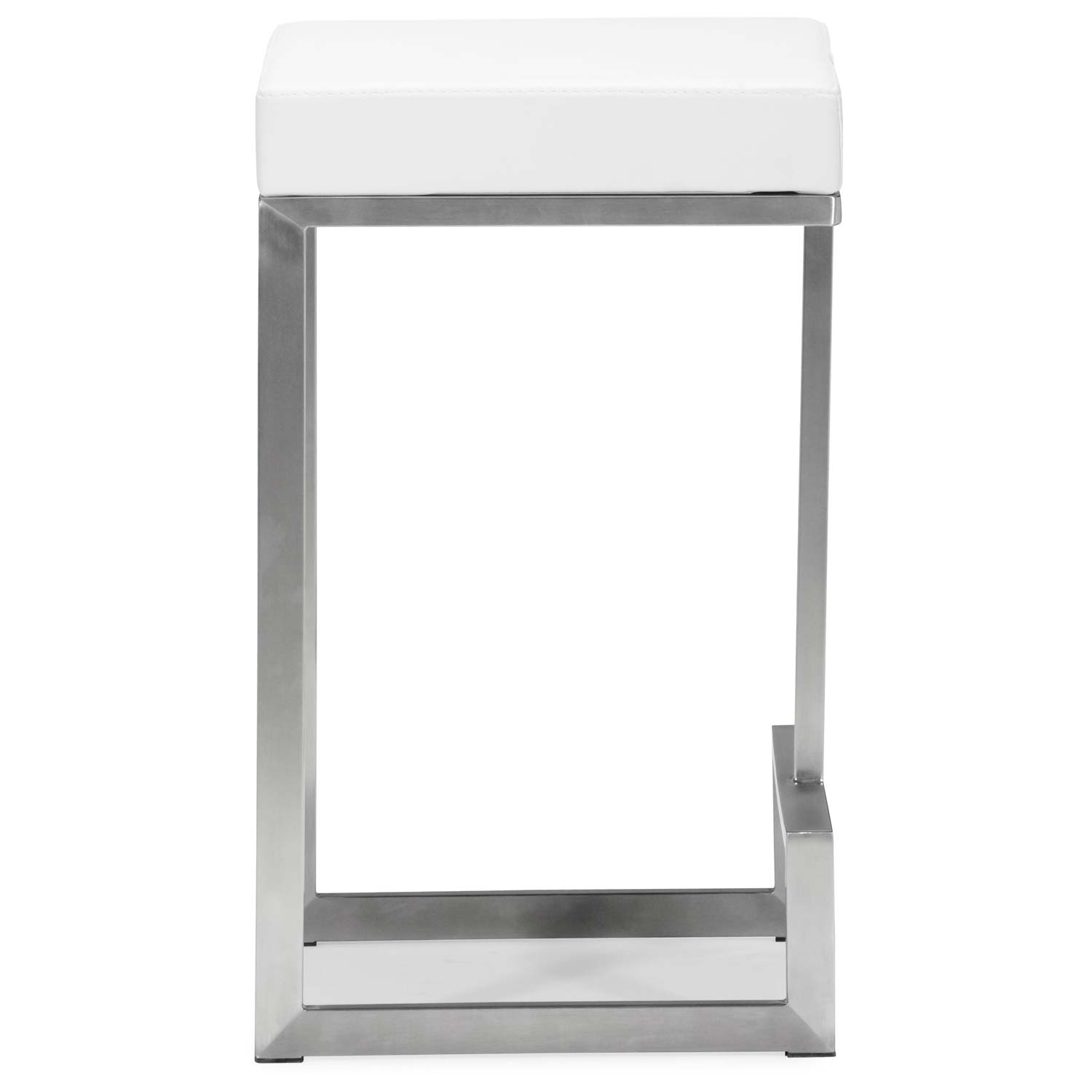 "Darwen 24"" Backless Counter Stool - Steel Base, White - ZM-300049"