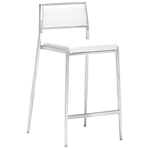 "Dolemite 26"" Counter Stool - Stainless Steel, White"