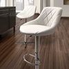 Devilin Diamond Tufted Bar Stool - Chrome Steel, White - ZM-301367