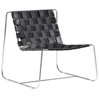 Prospect Park Leather Lounge Chair - Chrome Frame, Black