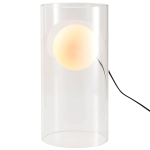 Eruption Cylindrical Table Lamp - Clear, Frosted Glass Shade