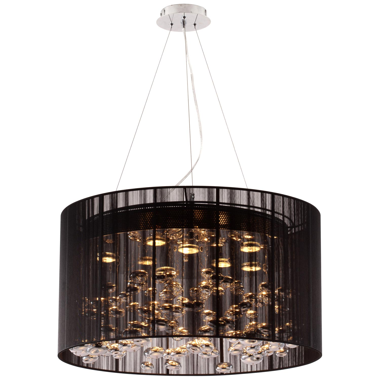 Symmetry Ceiling Lamp - Lace Fabric Shade, Black - ZM-50085
