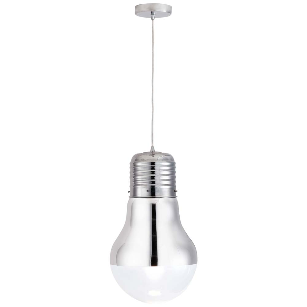 Gilese Light Bulb Ceiling Lamp - Glass Shade, Chrome - ZM-50089