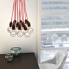 Nimbus Ceiling Lamp - Chrome Dipped Bulbs, Red Cords - ZM-50108
