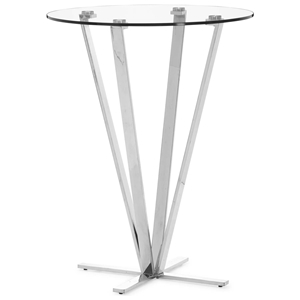 Mimosa Round Bar Table - Tempered Glass, Stainless Steel