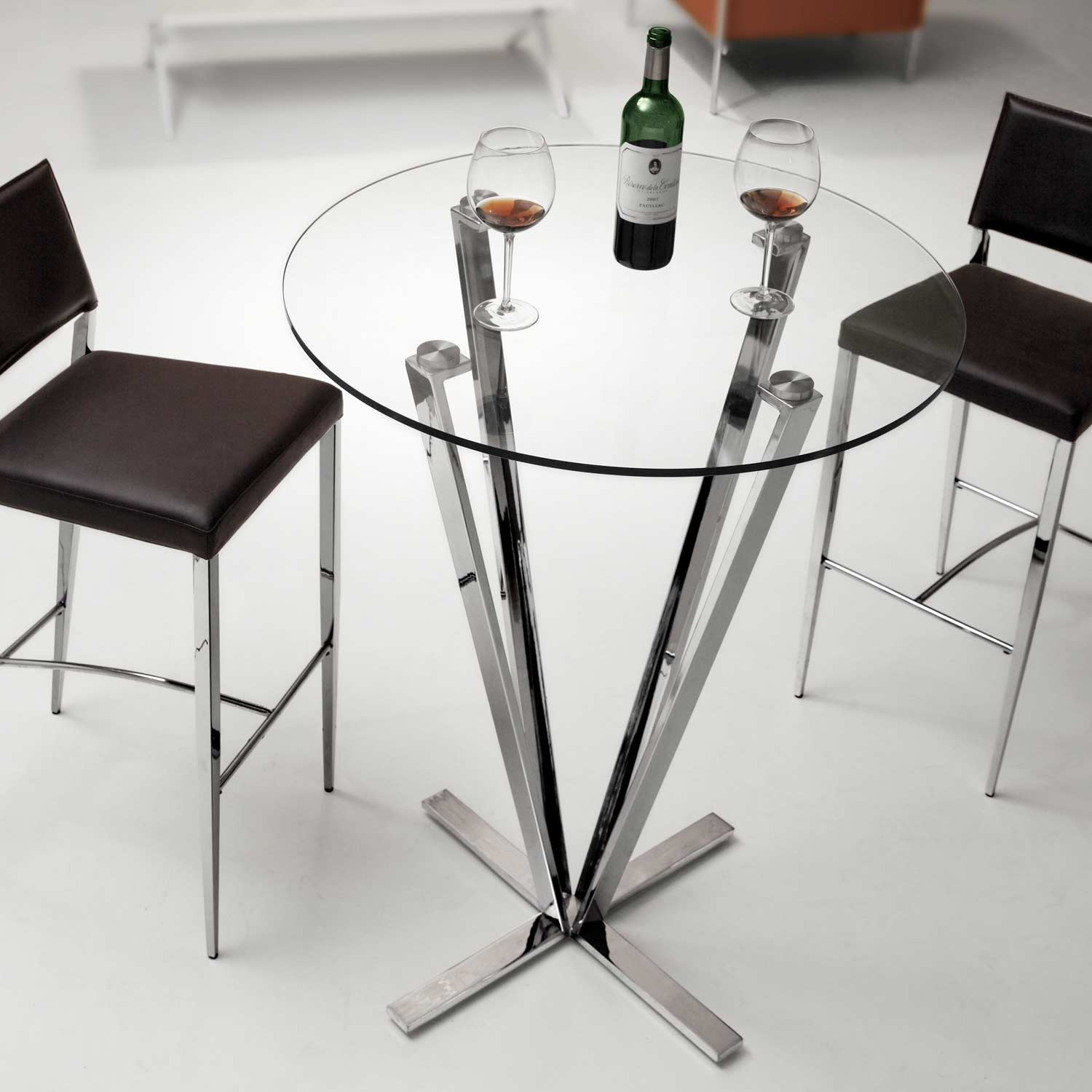 Mimosa Round Bar Table Tempered Glass Stainless Steel