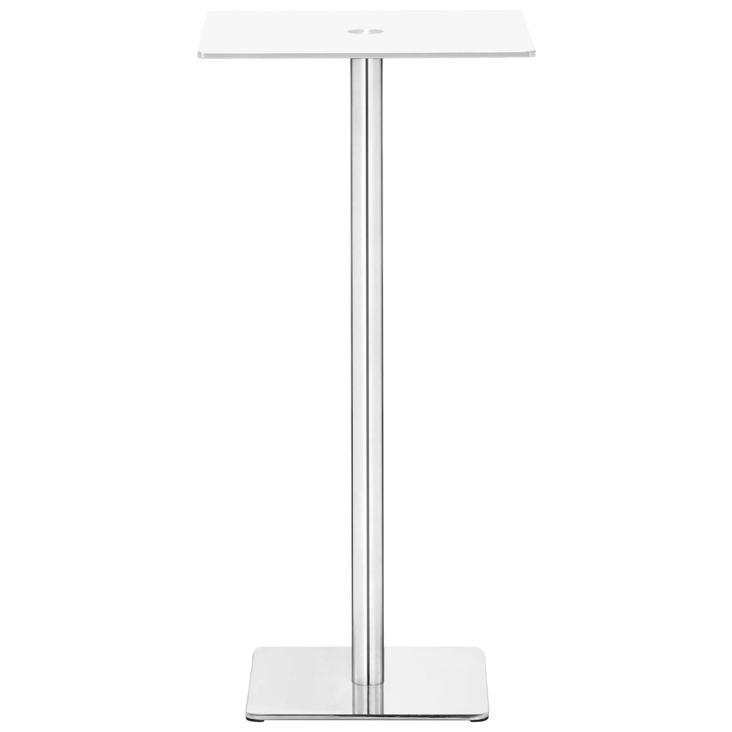 Dimensional Square Bar Table - Chrome Base, White Glass - ZM-601168