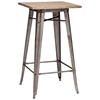 Titus Square Bar Table - Steel, Wood Top, Faux Rust - ZM-601188