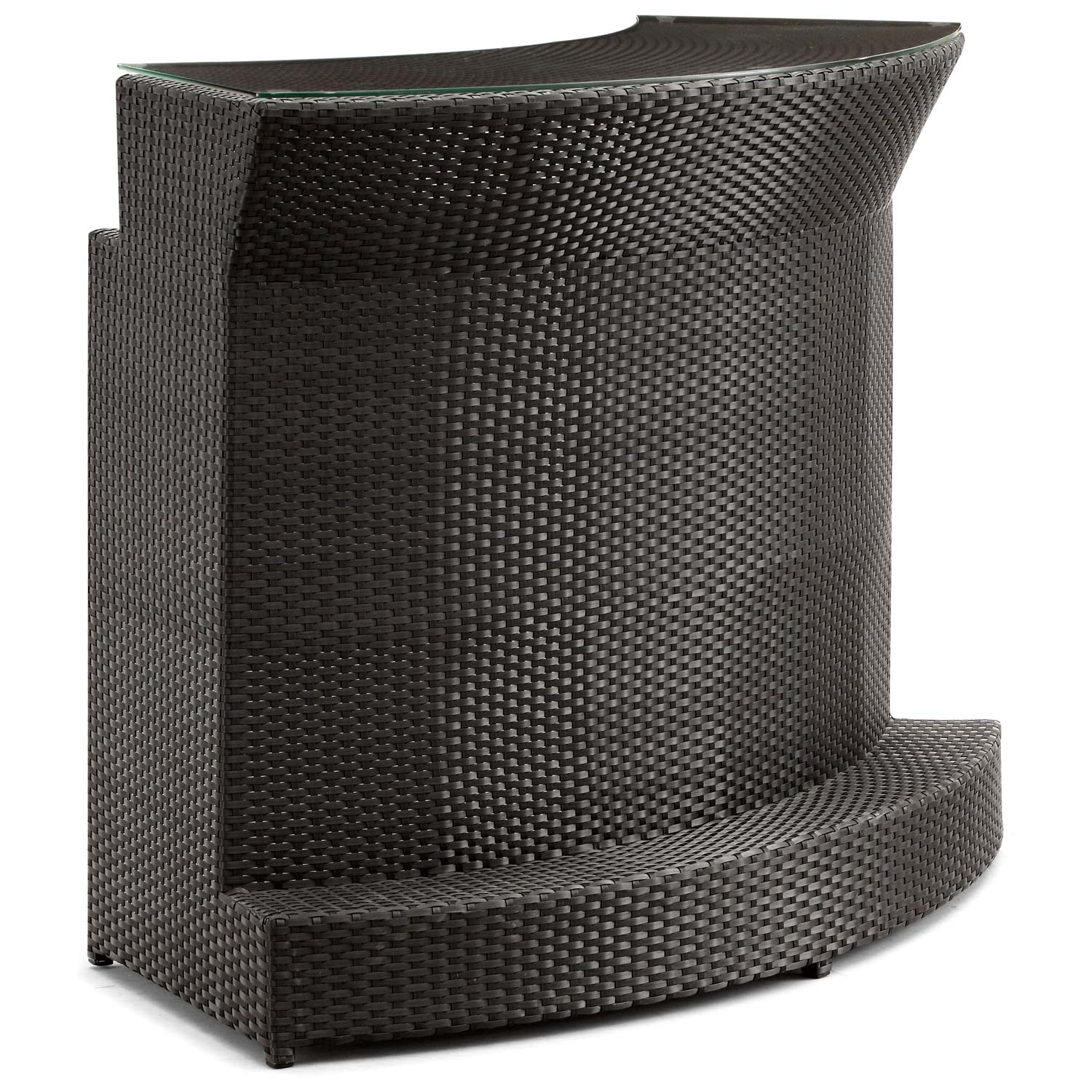 Negril Curved Outdoor Bar Table Espresso Wicker Dcg Stores