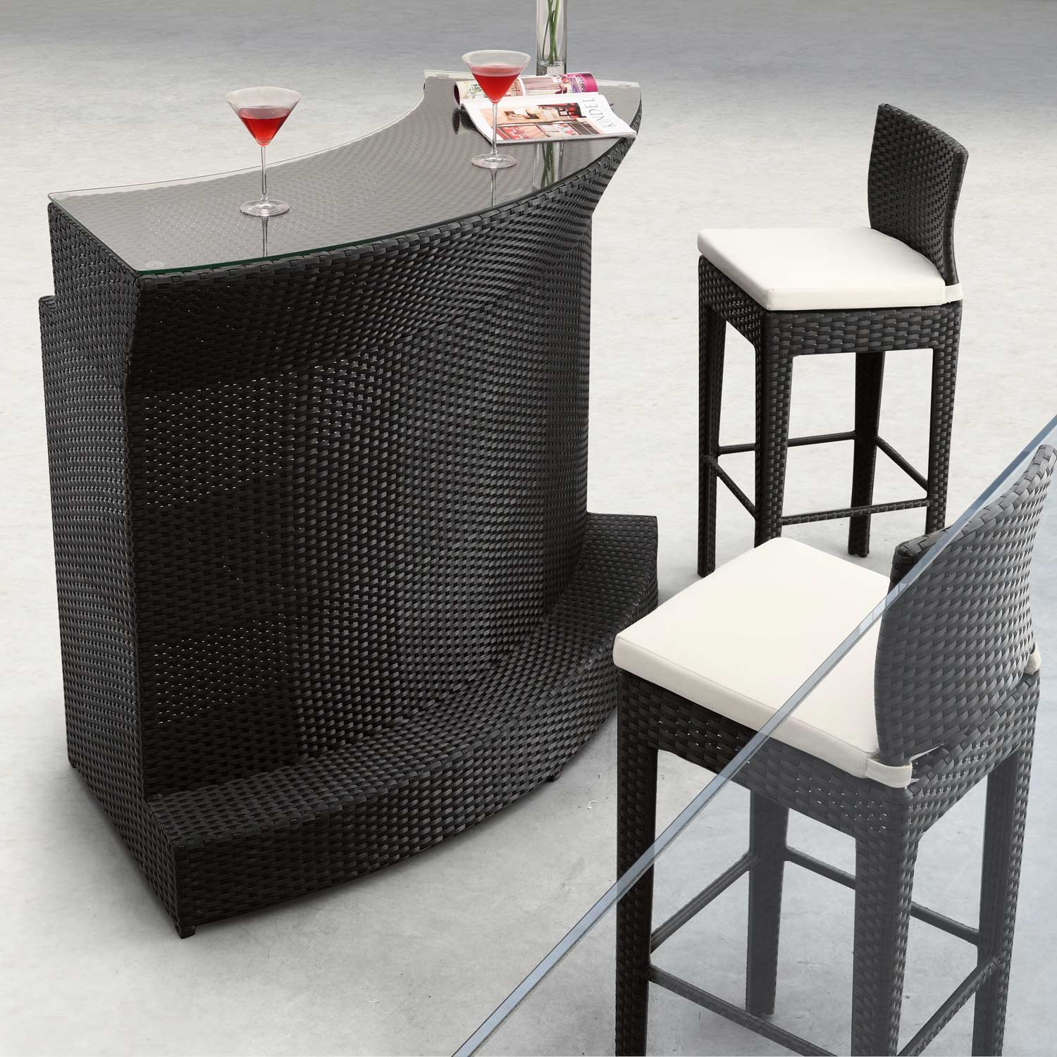 Negril Curved Outdoor Bar Table - Espresso Wicker - ZM-701384