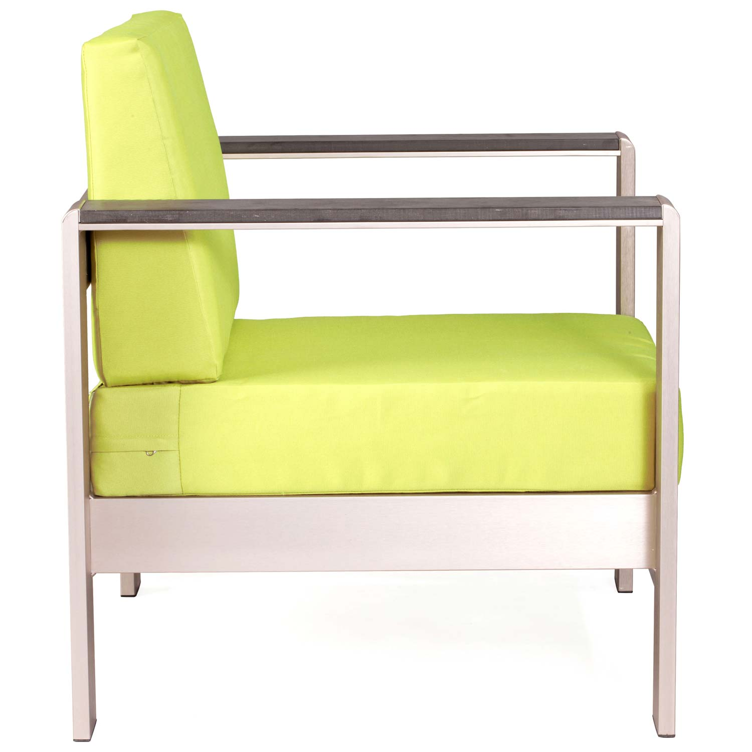 Cosmopolitan Patio Armchair - Brushed Aluminum, Teak, Green - ZM-701840-703651
