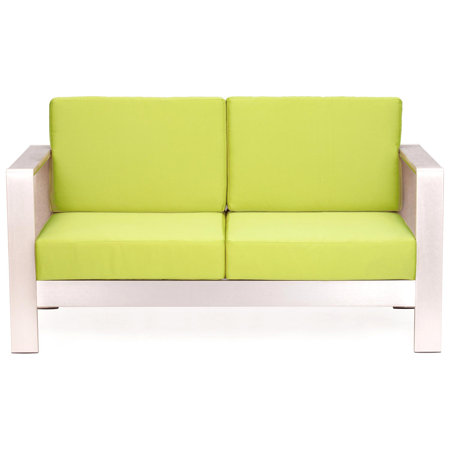 Cosmopolitan Patio Sofa - Brushed Aluminum, Teak, Green - ZM-701850-703653