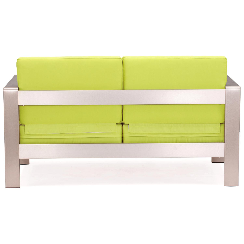 Cosmopolitan Patio Sofa Brushed Aluminum Teak Green