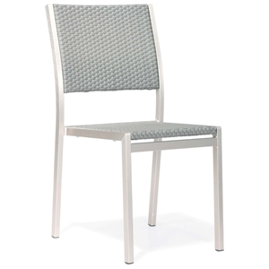 Metropolitan Outdoor Woven Side Chair - Brushed Aluminum