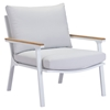 Maya Beach Arm Chair - Light Gray Fabric, Natural and White Finish - ZM-703571
