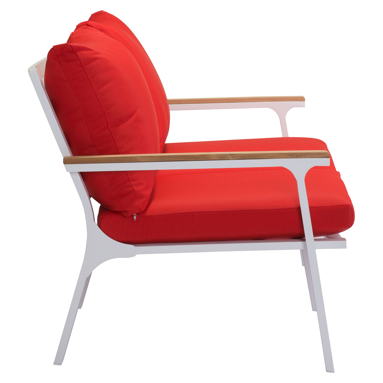 Maya beach sofa red fabric natural and white finish dcg stores - Red and white sofa ...