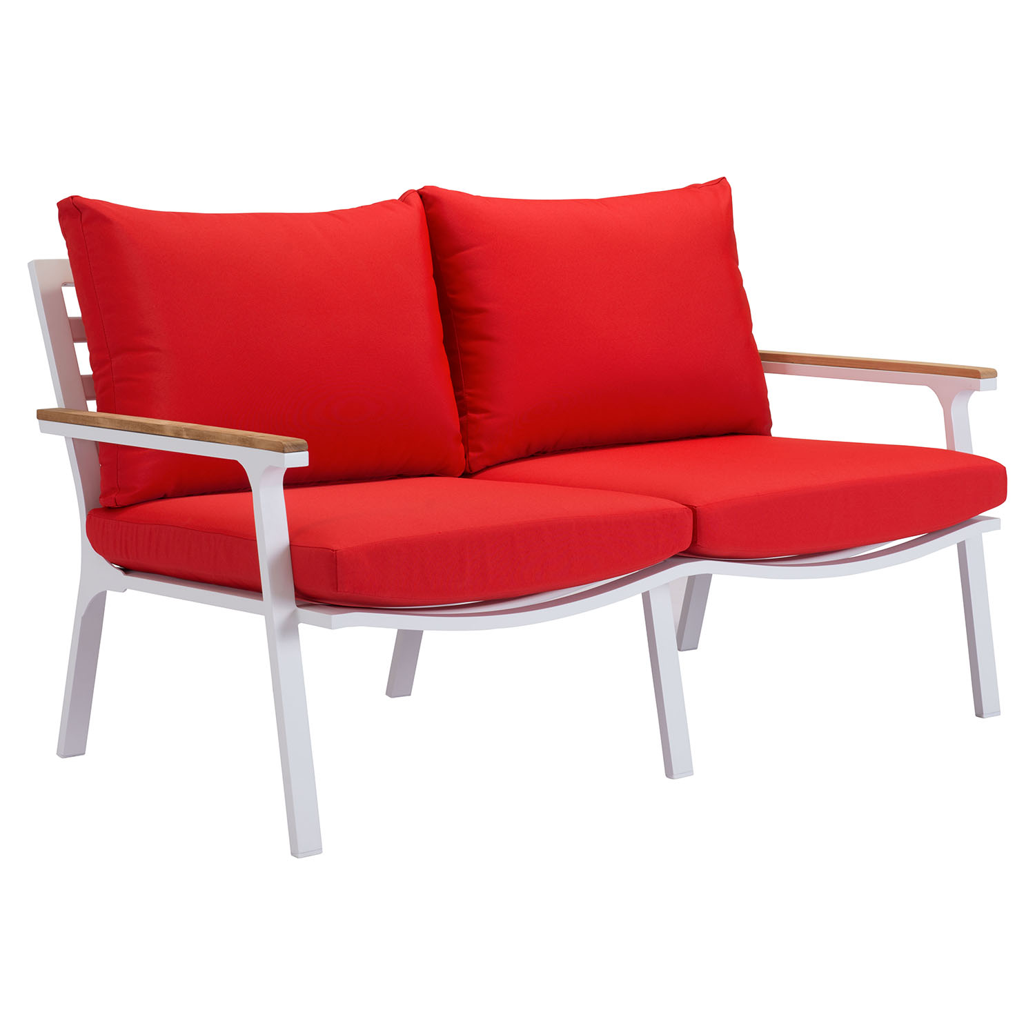 Maya Beach Sofa - Red Fabric, Natural and White Finish - ZM-703575