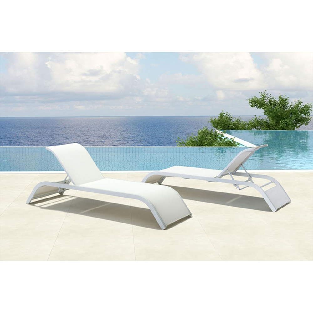 Sun beach chaise lounge white dcg stores for Beach chaise longue