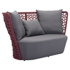 Faye Bay Beach Sofa - Cranberry and Gray - ZM-703587