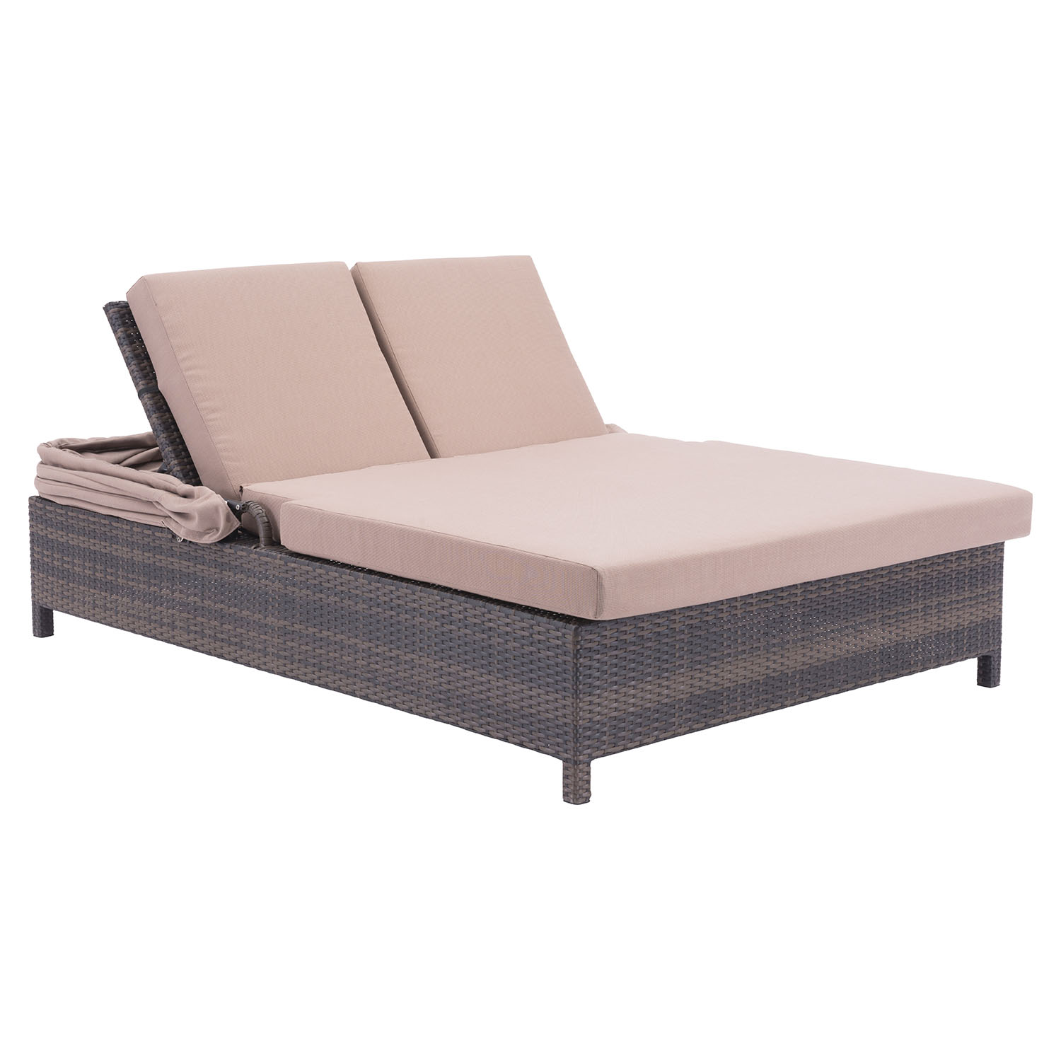 Siesta Key Double Chaise Lounge Brown and Beige