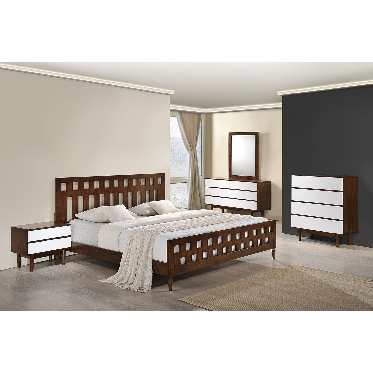LA Walnut Bedroom Set - ZM-80030-BED-SET
