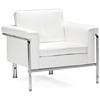 Singular Modern Armchair - Chrome Steel, White - ZM-900161