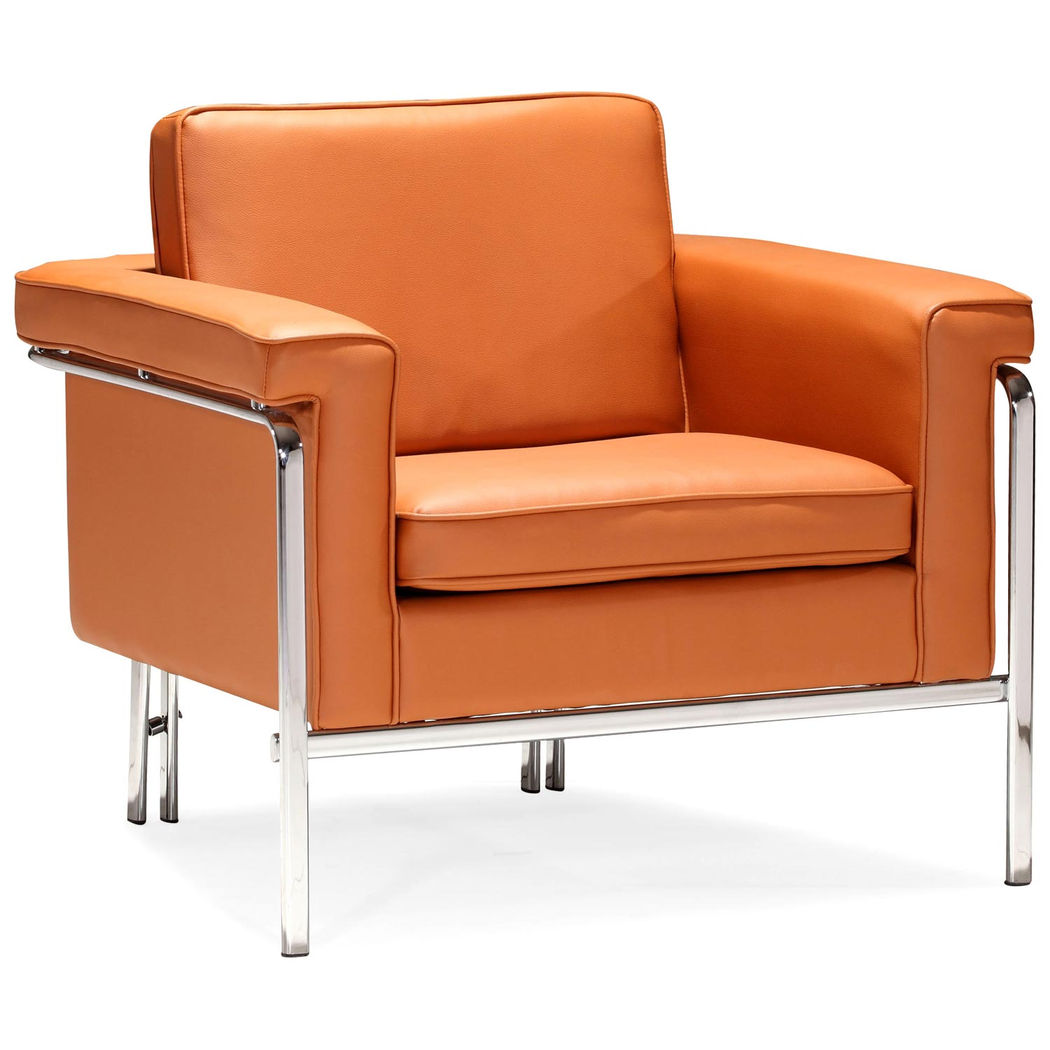 Singular Modern Armchair - Chrome Steel, Terracotta - ZM-900162