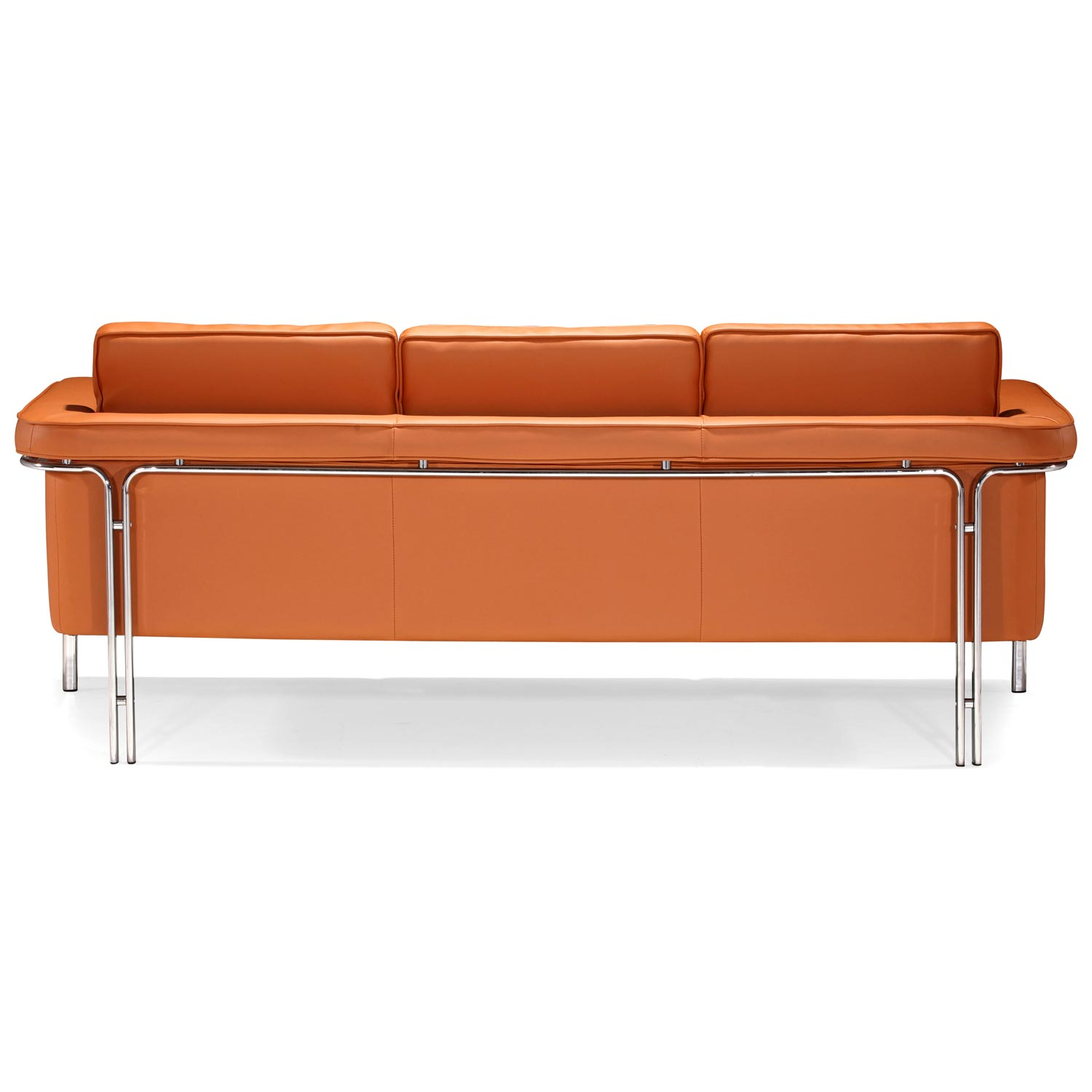 Singular Modern Sofa - Chrome Steel, Terracotta - ZM-900168