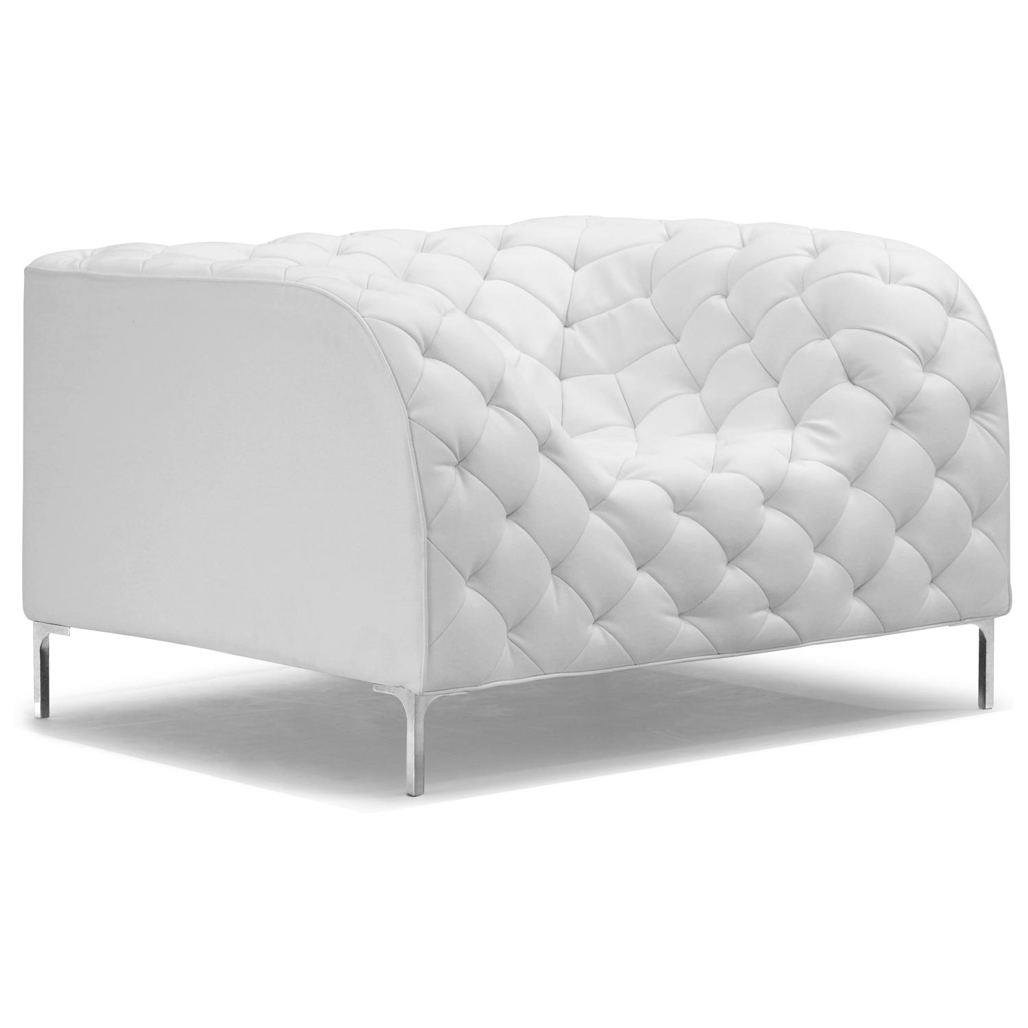 Providence Tufted Armchair Chrome Steel White Dcg Stores