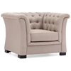Nob Hill Armchair - Button Tufts, Wood Legs, Beige Linen - ZM-98094