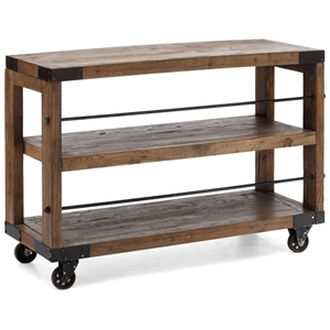 Fort Mason Shelf - Antique Metal Wheels, Distressed Natural Wood