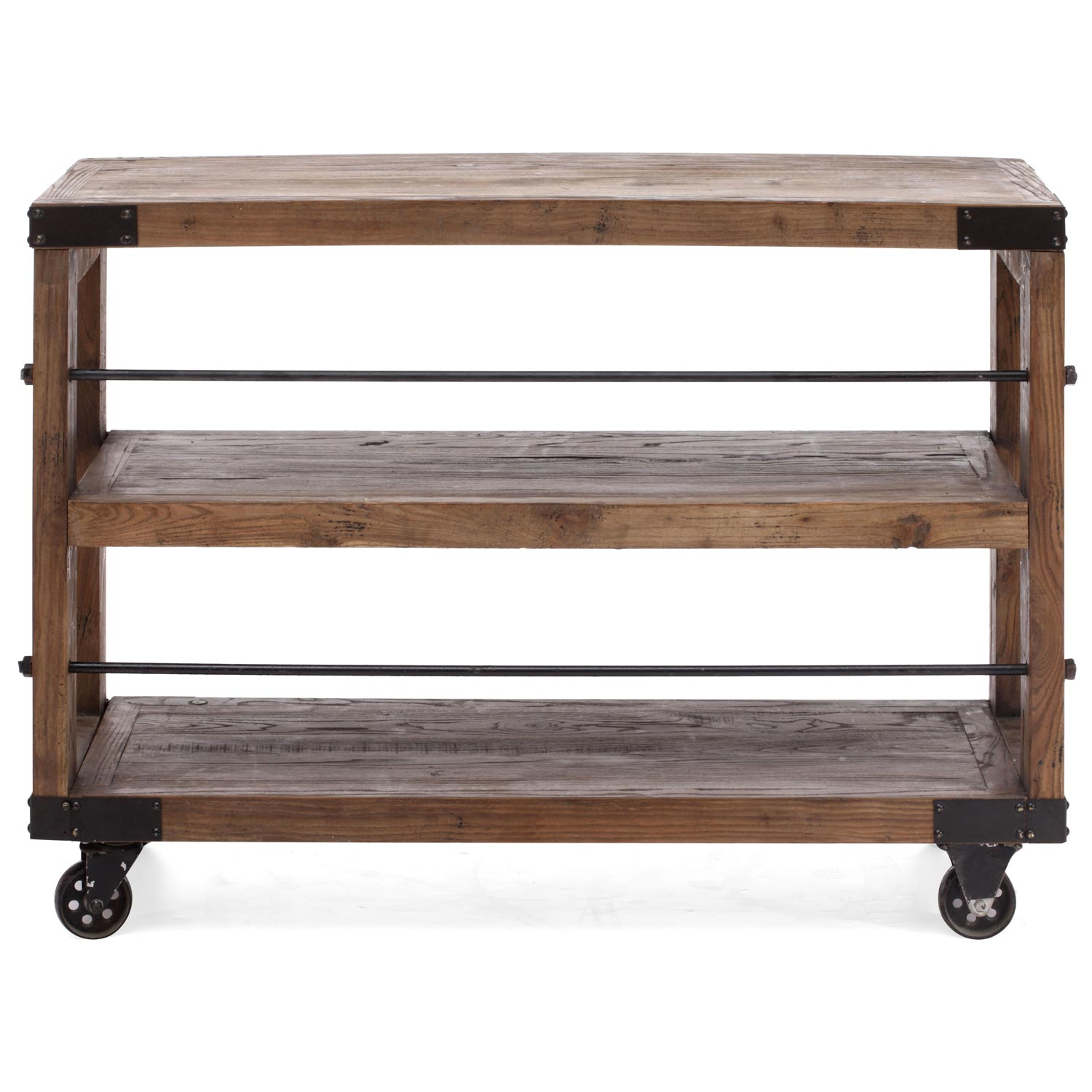 Fort Mason Shelf Antique Metal Wheels Distressed Natural Wood - Metal table with shelves