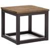 Civic Center Square Side Table - Antique Metal, Planked Wood Top - ZM-98120