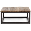 Civic Center Square Coffee Table - Antique Metal, Planked Wood - ZM-98122
