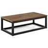 Civic Center Long Coffee Table - Antique Metal, Planked Wood Top - ZM-98123