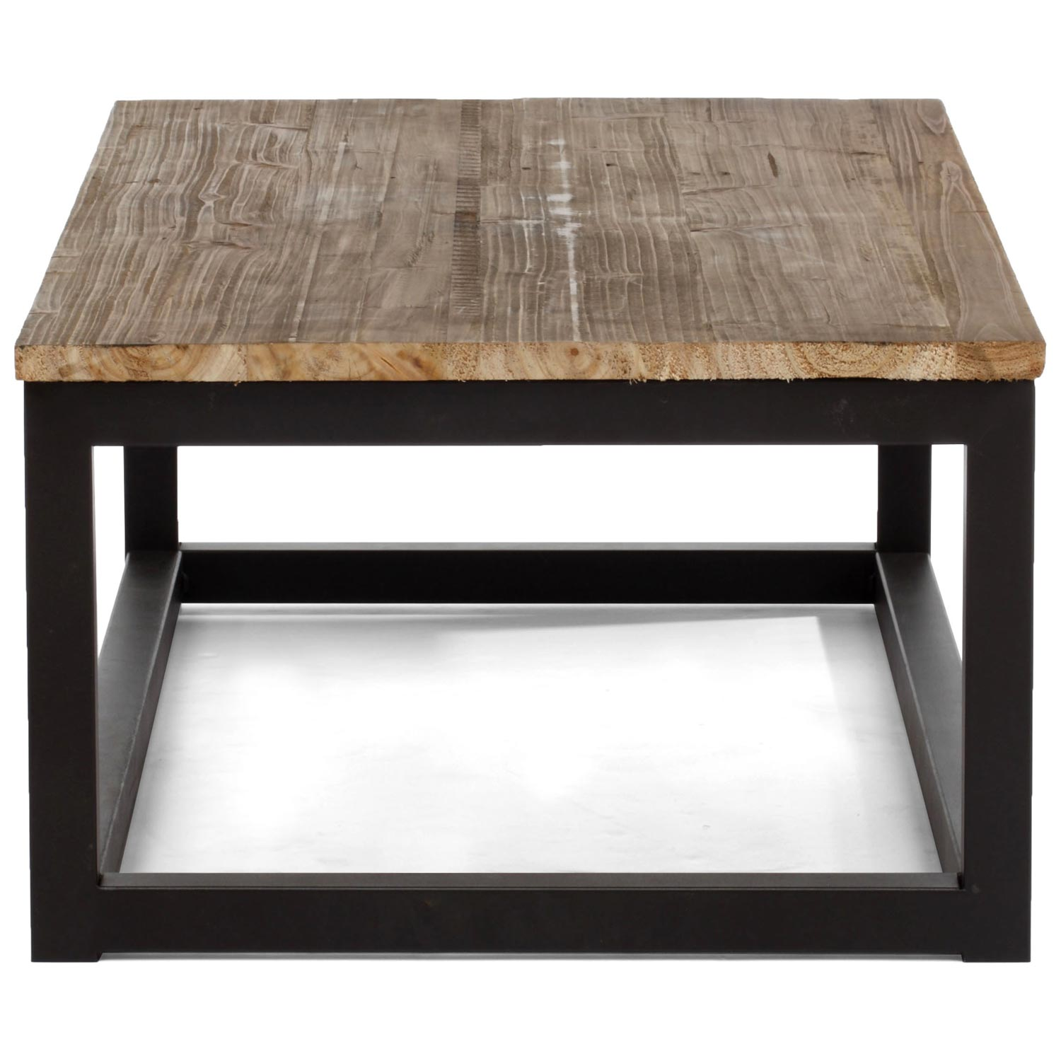 Civic Center Long Coffee Table Antique Metal Planked