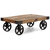 Barbary Coast Coffee Table Antique Metal Wheels Wood Top