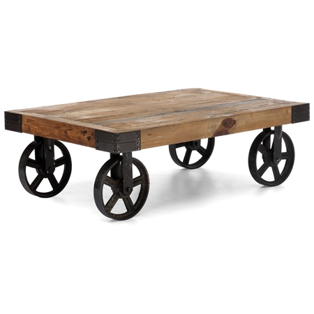 Barbary coast coffee table antique metal wheels wood top dcg stores Antique wheels for coffee table
