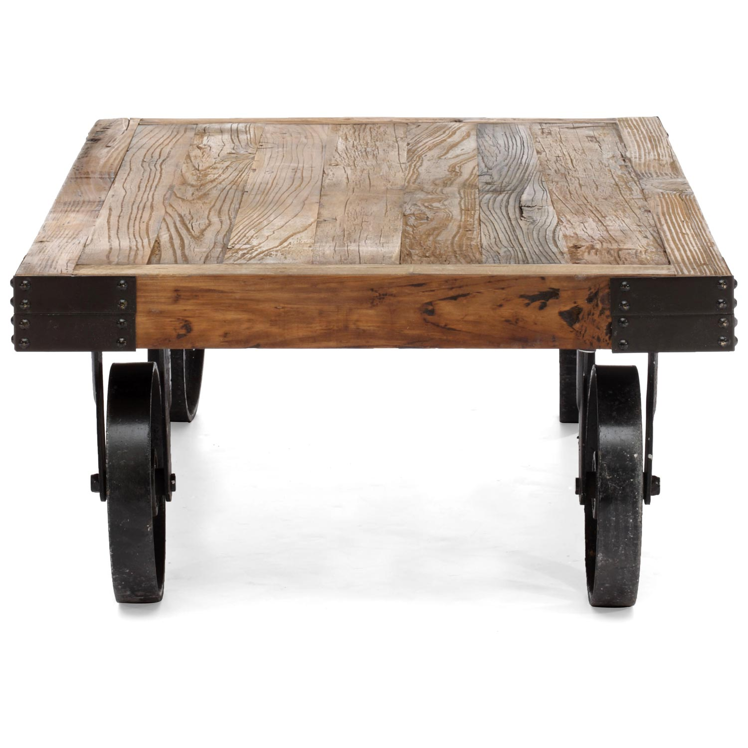 Barbary coast coffee table antique metal wheels wood for Coffee table wood top