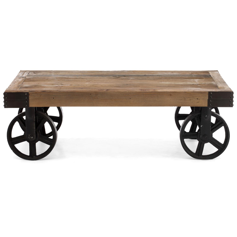 Barbary Coast Coffee Table Antique Metal Wheels Wood